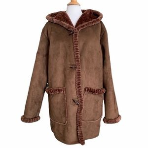 Chebella Faux Fur Brown Coat Jacket Hooded 2XL